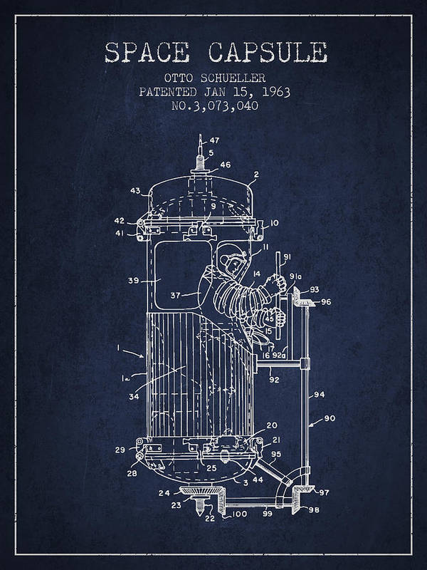 Space Capsule Poster featuring the drawing Space Capsule Patent From 1963 by Aged Pixel