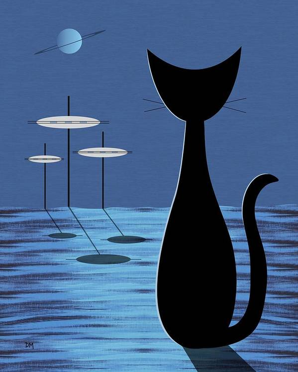 Mid Century Modern Poster featuring the digital art Space Cat In Blue by Donna Mibus