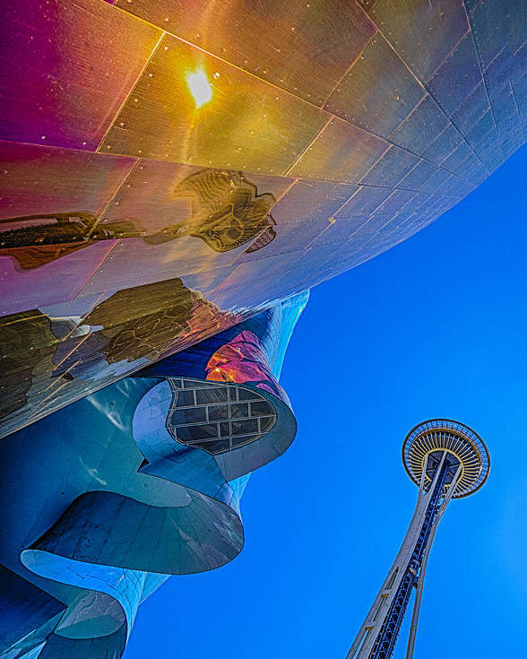 Space Needle Poster featuring the photograph Space Needle And Emp In Perspective Hdr by Scott Campbell