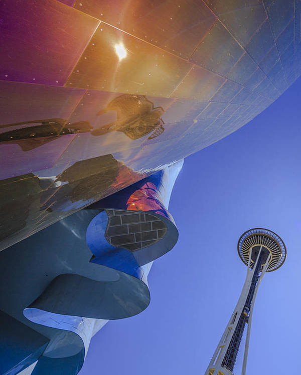 Space Needle Poster featuring the photograph Space Needle And Emp In Perspective Non Hdr by Scott Campbell
