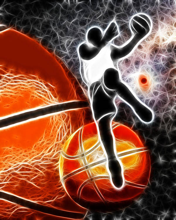 Basketball Poster featuring the digital art Space Slam by David G Paul