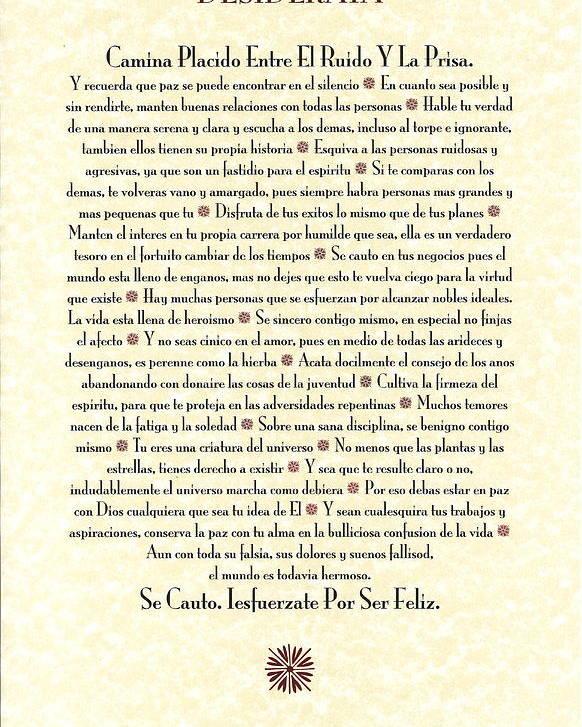 Spanish Desiderata Espanol Poster By Desiderata Gallery