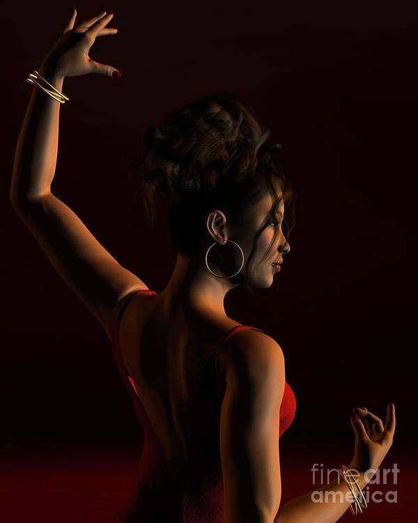 Flamenco Poster featuring the digital art Spanish Flamenco Dancer - 1 by Fairy Fantasies
