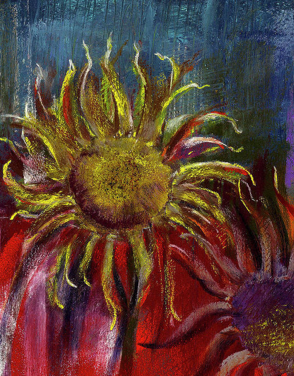 Sunflower Poster featuring the painting Spent Sunflower by David Patterson