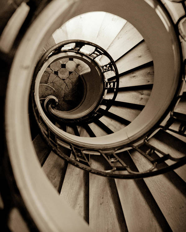 B&w Poster featuring the photograph Spiral Staircase by Sebastian Musial