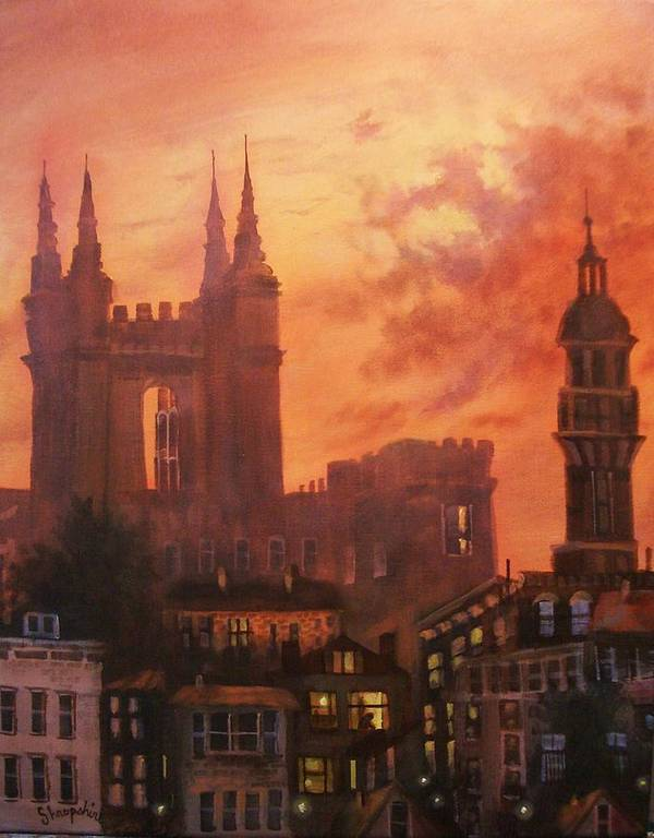 Church Poster featuring the painting Spires In Silhouette by Tom Shropshire