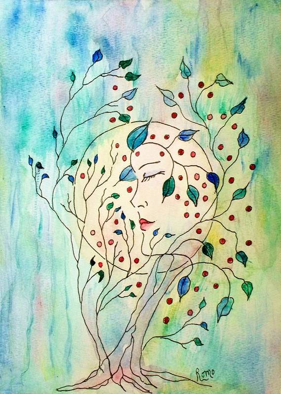 Watercolor Painting Poster featuring the painting Spirit Of The Forest by Robin Monroe