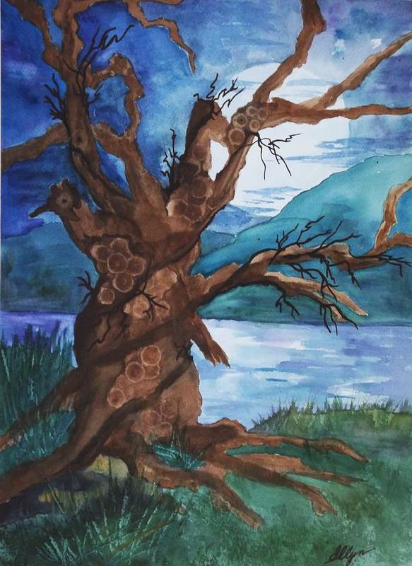 Tree Poster featuring the painting Spirit Tree by Ellen Levinson