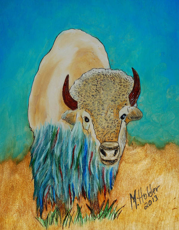 White Buffalo Poster featuring the pyrography Spirit White Buffalo by Mike Holder
