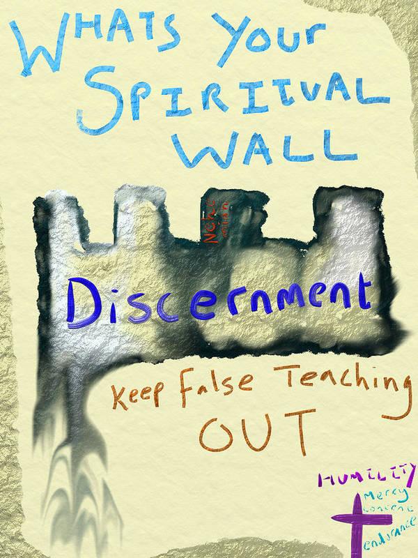 Poster featuring the digital art Spiritual Wall by Michael Jordan