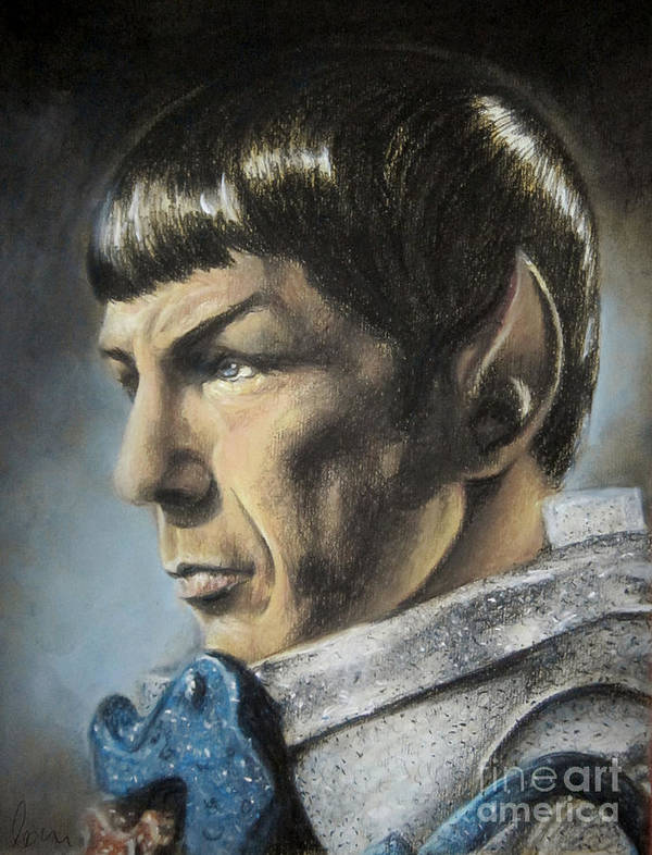 Spock Poster featuring the pastel Spock - The Pain Of Loss by Liz Molnar