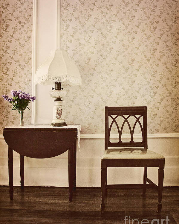 Chair; Table; Inside; Seat; Indoors; Empty; Floral Design; Alone; Brown; One; Interior; Still Life; House; Home; Wall Paper; Pretty; Wood; Floor; Runner; Side; Table; Lamp; Shade; Vase; Flowers; Lilacs Poster featuring the photograph Sprig Of Lilacs by Margie Hurwich