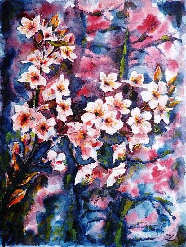 Sakura Poster featuring the painting Spring Beauty by Zaira Dzhaubaeva
