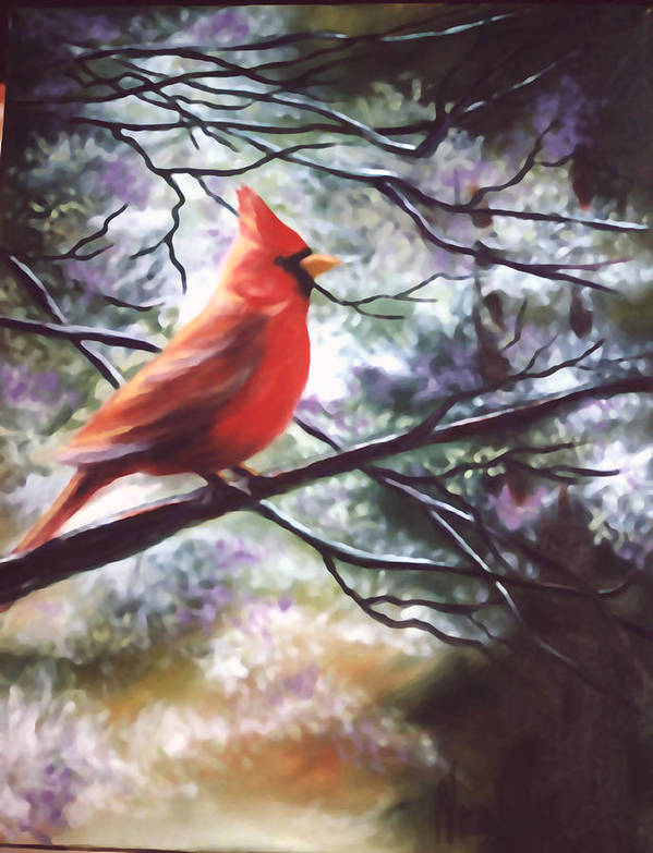 Birds Poster featuring the painting Spring Cardinal by Nicoletta Filarski