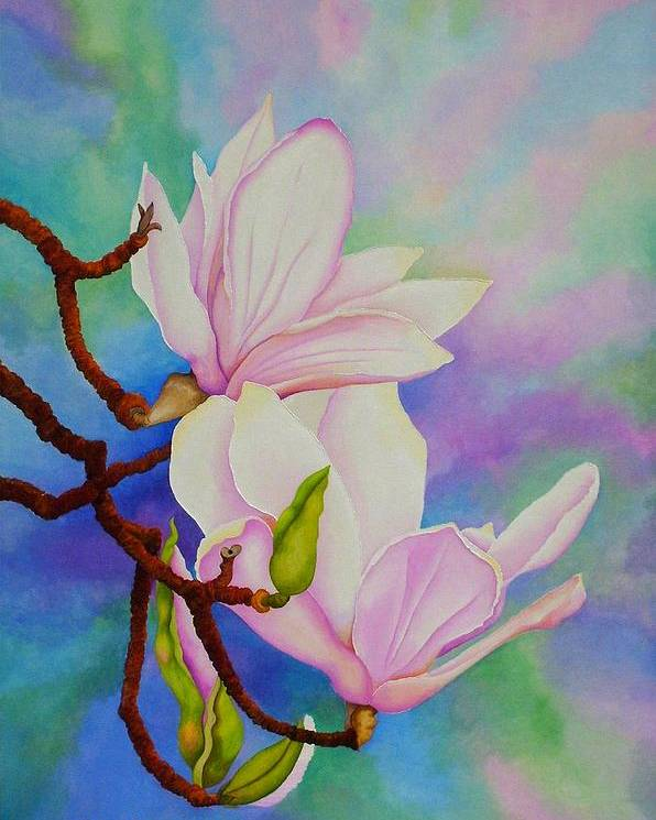 Pastels Poster featuring the painting Spring Magnolia by Carol Sabo