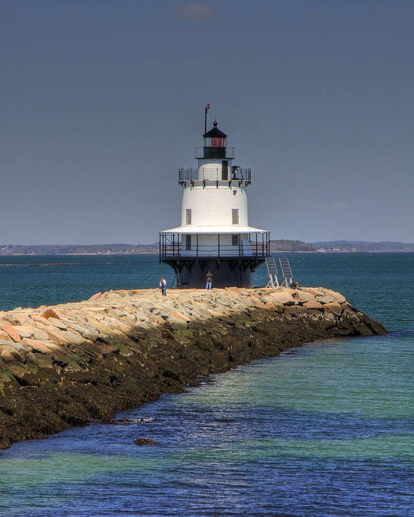 Ocean Poster featuring the photograph Spring Point Ledge Light by Joann Vitali