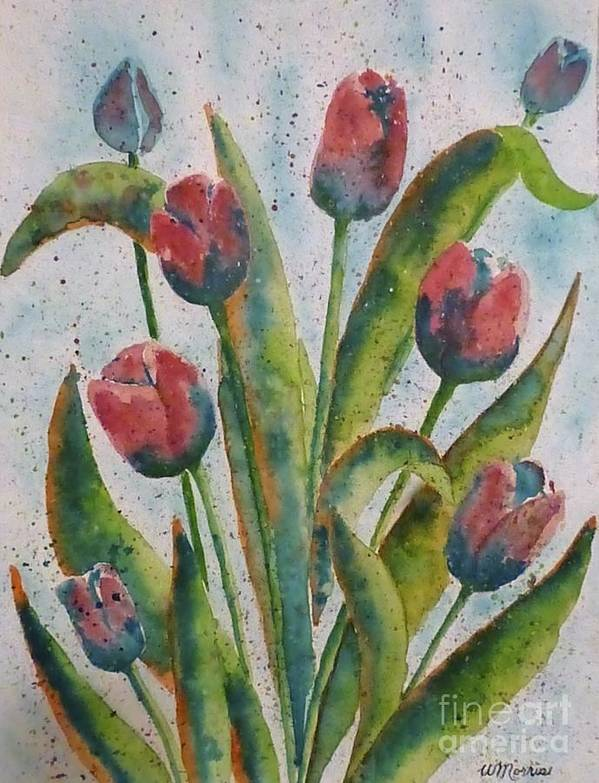 Flowers Poster featuring the painting Spring Tulips by Wendy Diane Morris