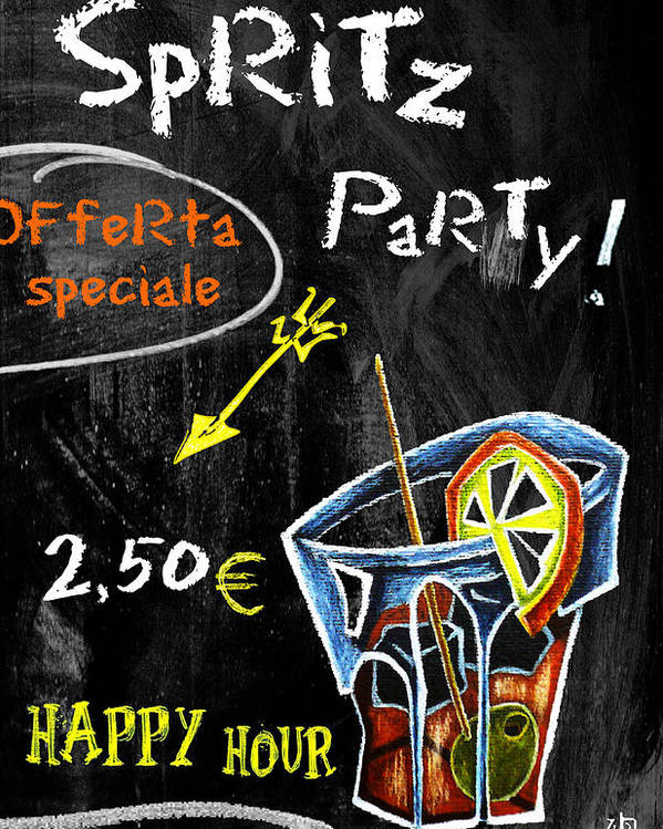 Spritz Poster featuring the mixed media Spritz Party Happy Hour - Aperitif Venice Italy by Arte Venezia