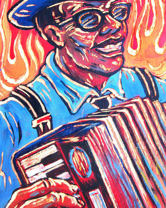 Blues Poster featuring the painting Squeezebox Blues by Robert Ponzio