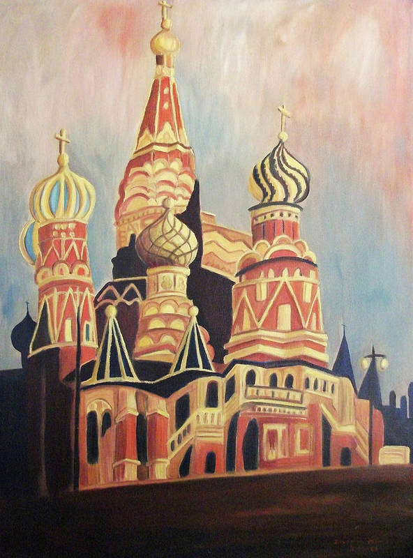 Original Poster featuring the painting St Basil's Cathedral Moscow by Suzanne Marie Leclair