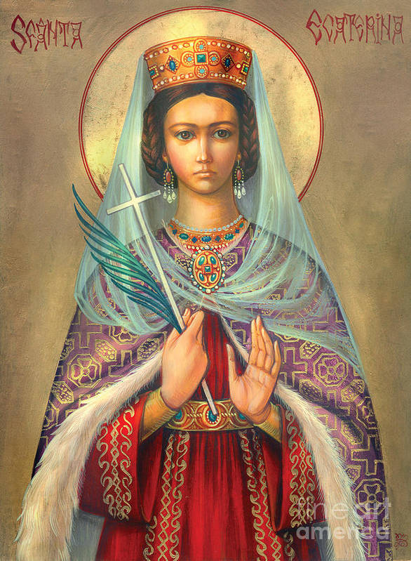 St. Catherine Poster featuring the digital art St. Catherine by Zorina Baldescu