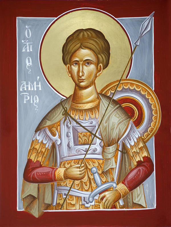 St Dimitrios Poster featuring the painting St Dimitrios The Myrrhstreamer by Julia Bridget Hayes