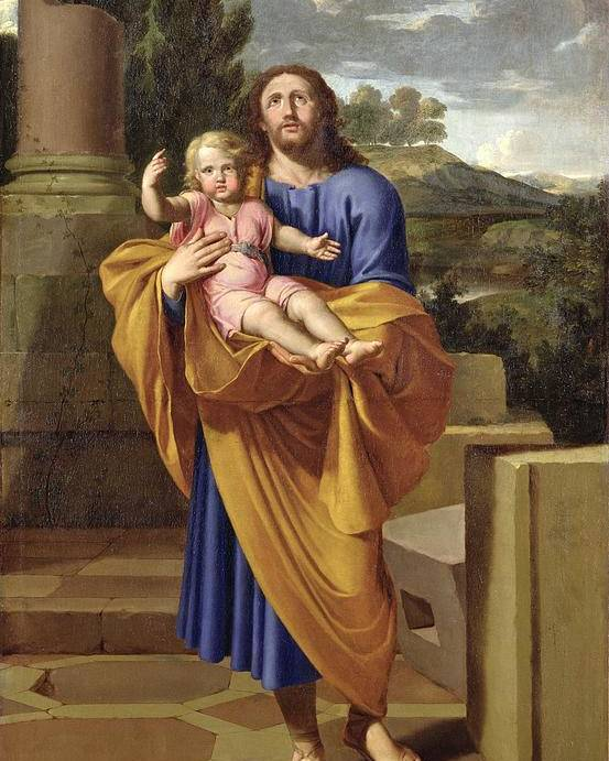 Saint Joseph Poster featuring the painting St. Joseph Carrying The Infant Jesus by Pierre Letellier