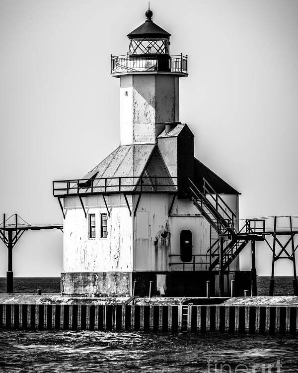 America Poster featuring the photograph St. Joseph Lighthouse Black And White Picture by Paul Velgos