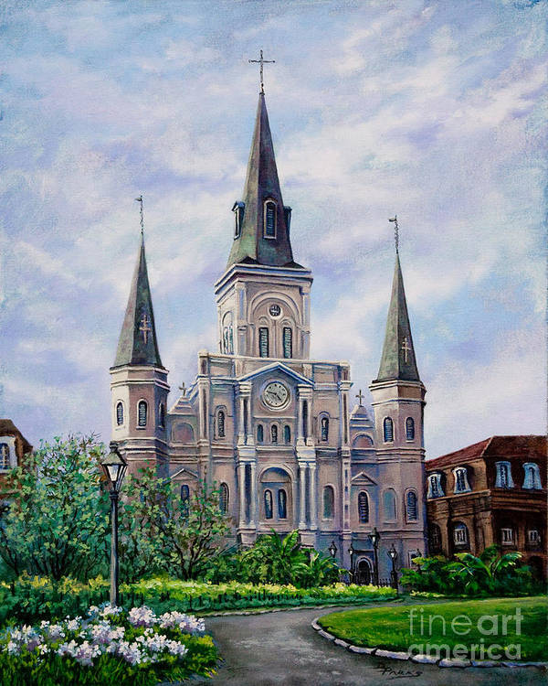 New Orleans Art Poster featuring the painting St. Louis Cathedral by Dianne Parks