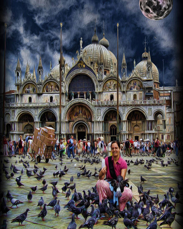 The Patriarchal Cathedral Basilica Of Saint Mark Poster featuring the photograph St Mark's Basilica - Feeding The Pigeons by Lee Dos Santos