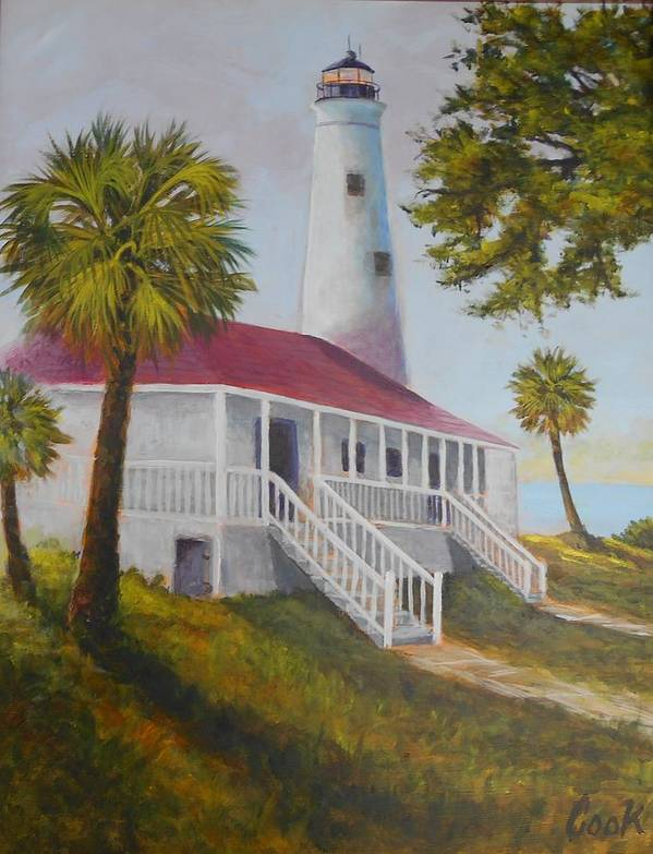 Lighthouse Poster featuring the painting St. Marks Lighthouse by Michael Cook