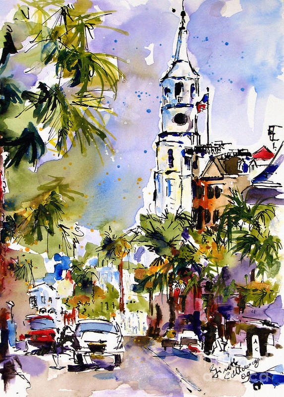 Charleston Poster featuring the painting St Michael's Church Charleston South Carolina by Ginette Callaway