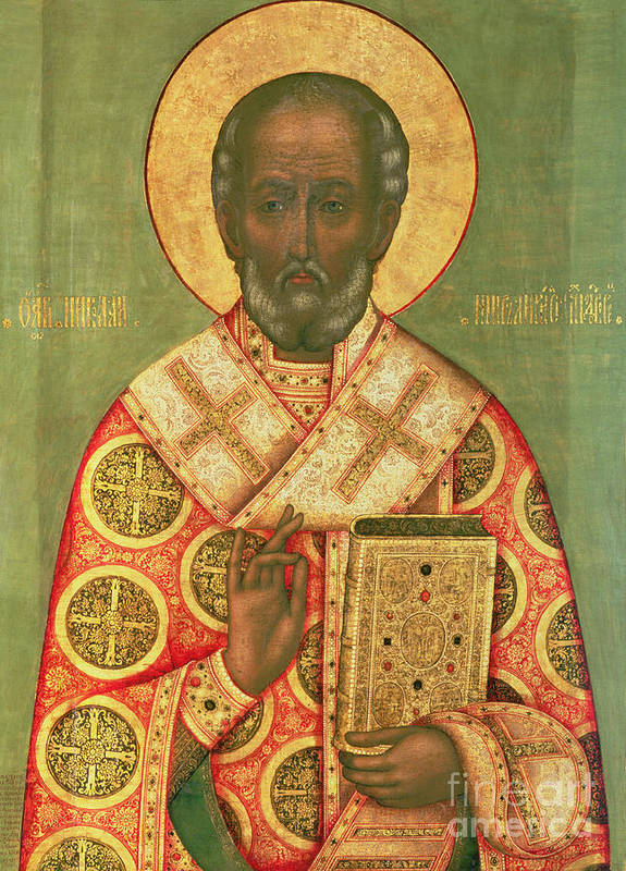 Miracle Worker; Icon Poster featuring the painting St. Nicholas by Russian School