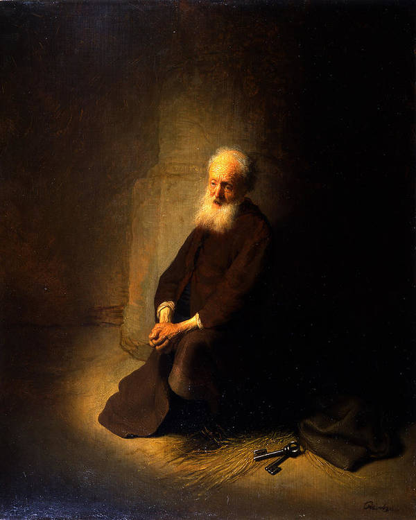 Apostle Poster featuring the painting St. Peter In Prison, 1631 by Rembrandt Harmensz. van Rijn