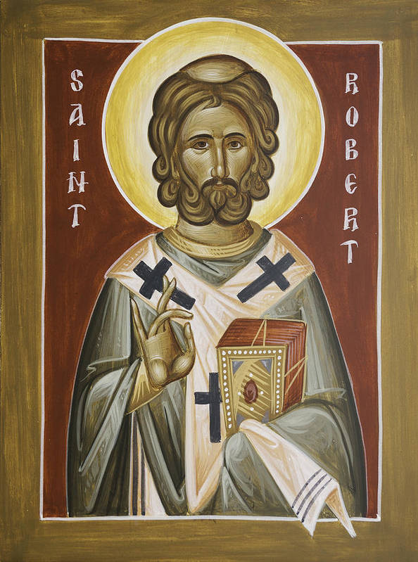 St Robert Poster featuring the painting St Robert by Julia Bridget Hayes