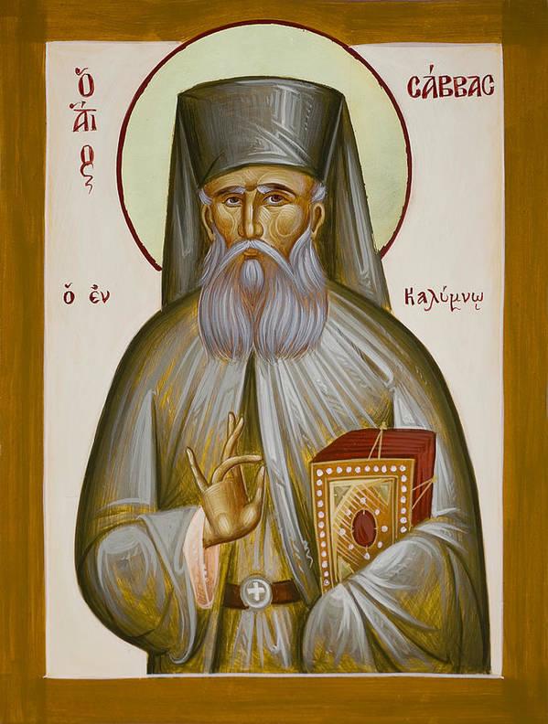 St Savvas Of Kalymnos Poster featuring the painting St Savvas Of Kalymnos by Julia Bridget Hayes