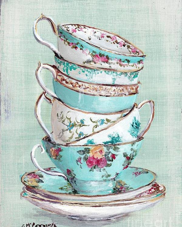 Aqua Themed Tea Cups Poster featuring the painting Stacked Aqua Themed Tea Cups by Gail McCormack