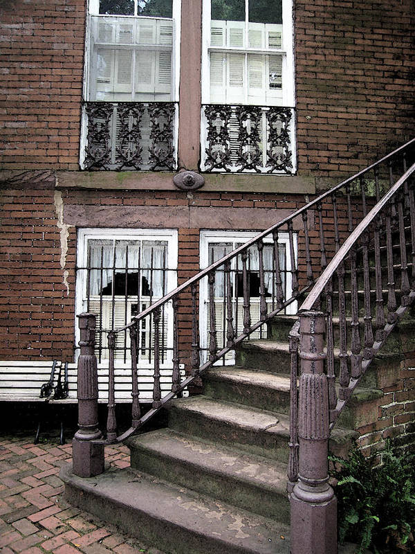 Staircase Poster featuring the photograph Staircase And Shutters by Linda Ryan