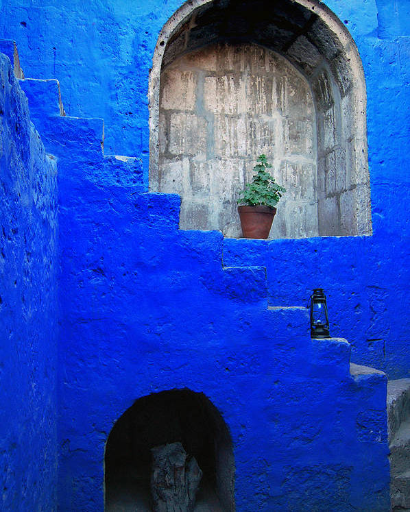 Monastery Poster featuring the photograph Staircase In Blue Courtyard by RicardMN Photography