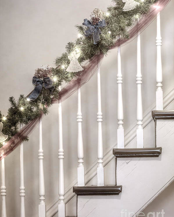 Stairs; Staircase; Side; View; Steps; Wood; Wooden; Details; Railing; Rail; Garland; Greenery; Christmas; Decorations; Angels; Ribbons; Lights; Bows; House; Home; Inside; Indoors; Banister Poster featuring the photograph Stairs At Christmas by Margie Hurwich