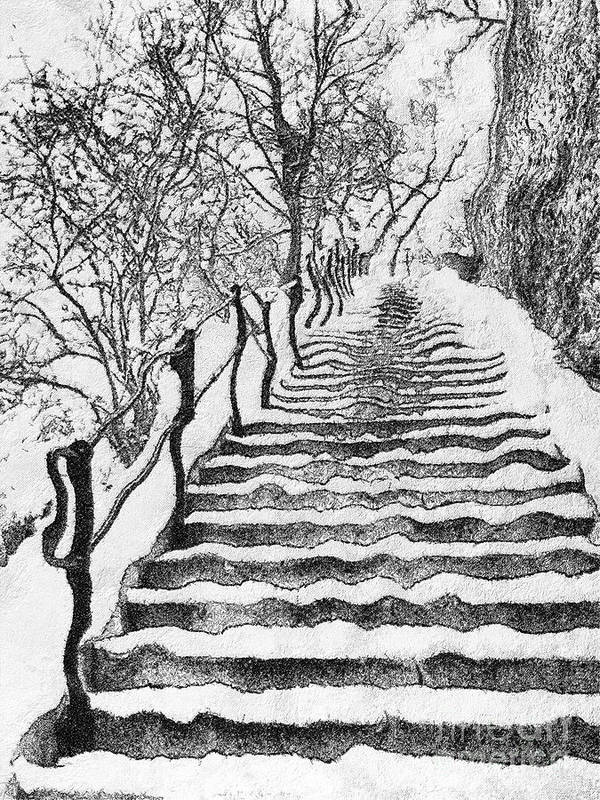Budapest Poster featuring the painting Stairs In Winter by Odon Czintos