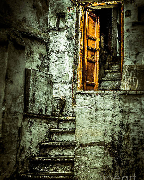 India Poster featuring the photograph Stairs Leading To The Old Door by Catherine Arnas