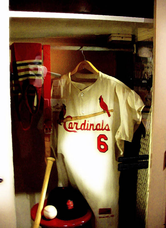 Stan Musial Collectibles Poster featuring the photograph Stan The Man's Locker Stan Musial by Iconic Images Art Gallery David Pucciarelli