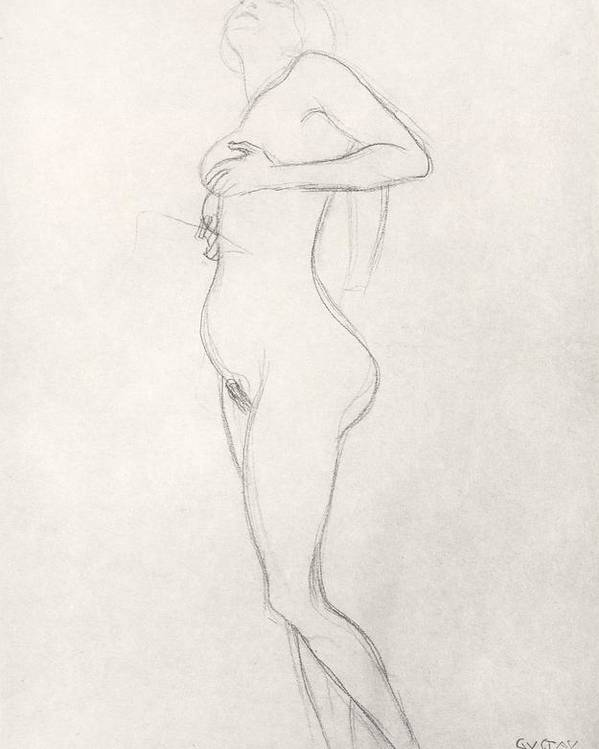 Klimt Poster featuring the drawing Standing Nude Girl Looking Up by Gustav Klimt