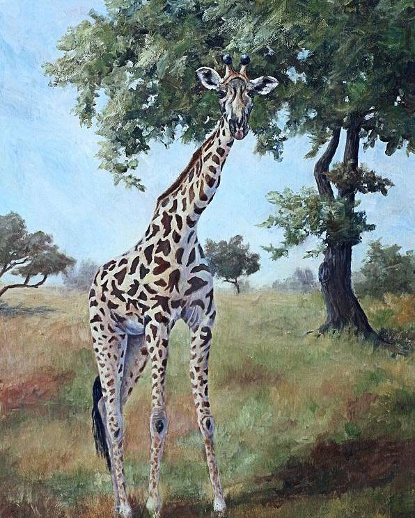 Giraffe Poster featuring the painting Standing Tall by Brenda Thour