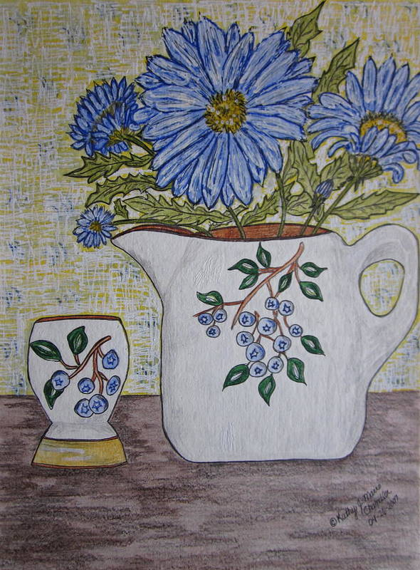 Stangl Blueberry Pottery Poster featuring the painting Stangl Blueberry Pottery by Kathy Marrs Chandler