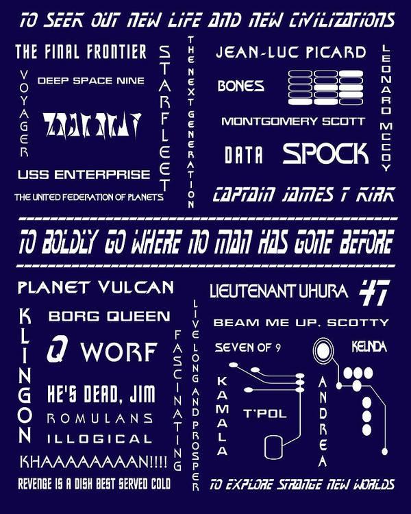 Star Trek Poster featuring the digital art Star Trek Remembered In Navy Blue by Georgia Fowler