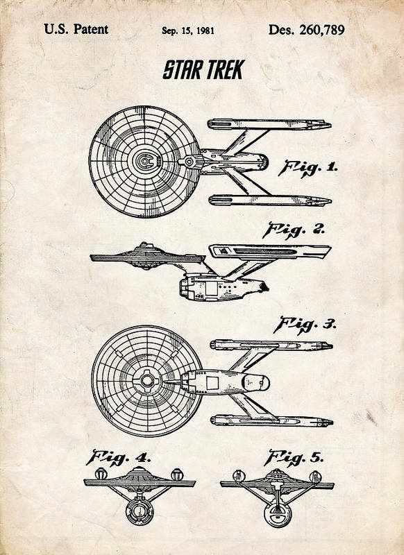 Star Trek Poster featuring the drawing Star Trek Uss Enterprise Patent Art by Stephen Chambers