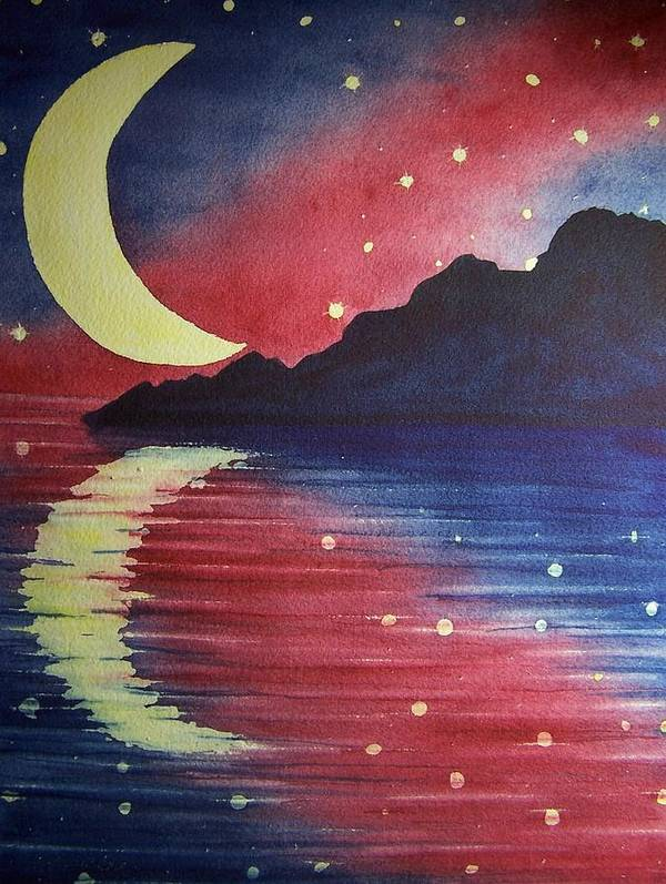 Star Poster featuring the painting Starry Lake by Conni Reinecke