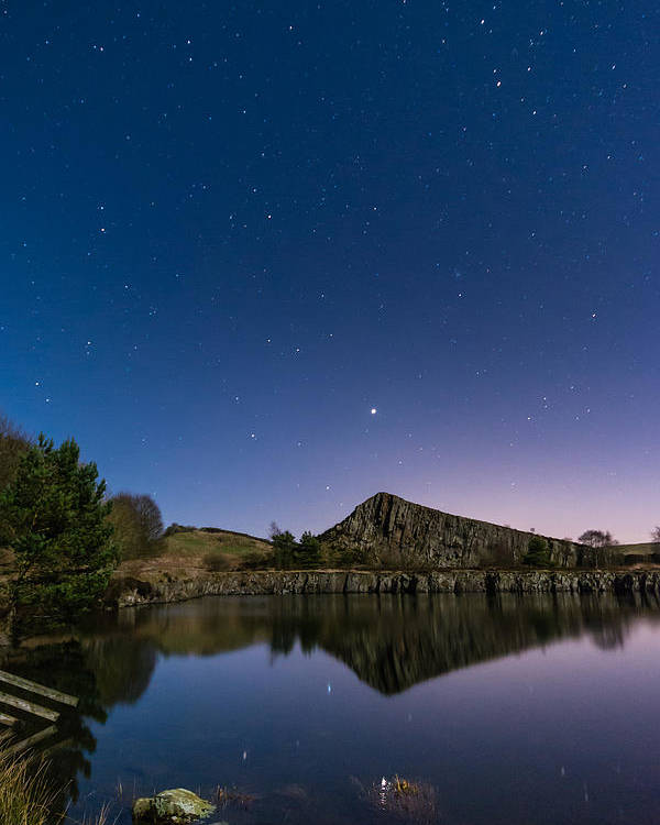 Northumberland Poster featuring the photograph Stars Reflect In Cawfield Quarry by David Head